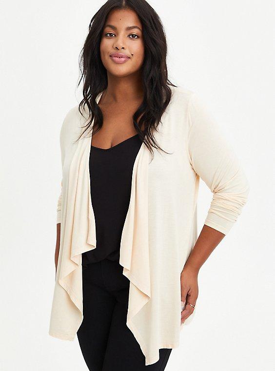 Plus Size Drape Cardigan Sweater - Super Soft Sand, SAND, hi-res