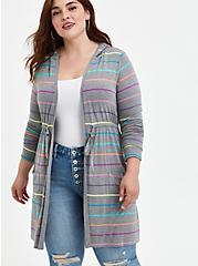Hoodie Anorak - Super Soft Heather Grey Stripe, STRIPE - MULTICOLOR, hi-res