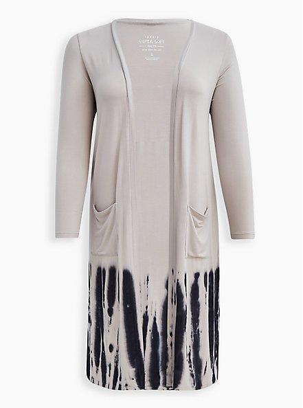 Duster - Super Soft Tie-Dye Grey & Black , MULTI, hi-res
