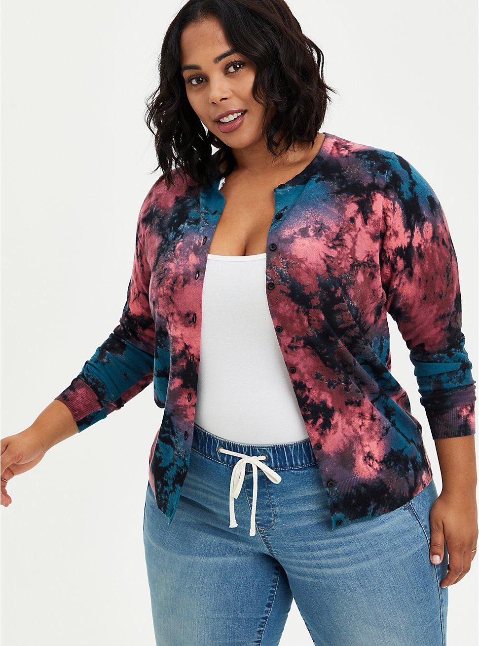 Tie Dye Button Front Short Cardigan Sweater, MULTI, hi-res
