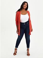 Boyfriend Cardigan Sweater - Textured Slub Orange, , alternate