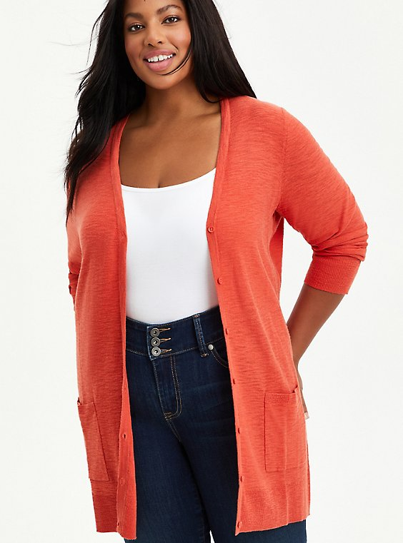 Boyfriend Cardigan Sweater - Textured Slub Orange, , hi-res