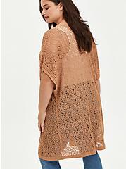 Plus Size Kimono Duster - Pointelle Tan, TAN/BEIGE, alternate
