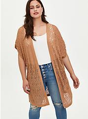 Plus Size Kimono Duster - Pointelle Tan, TAN/BEIGE, hi-res