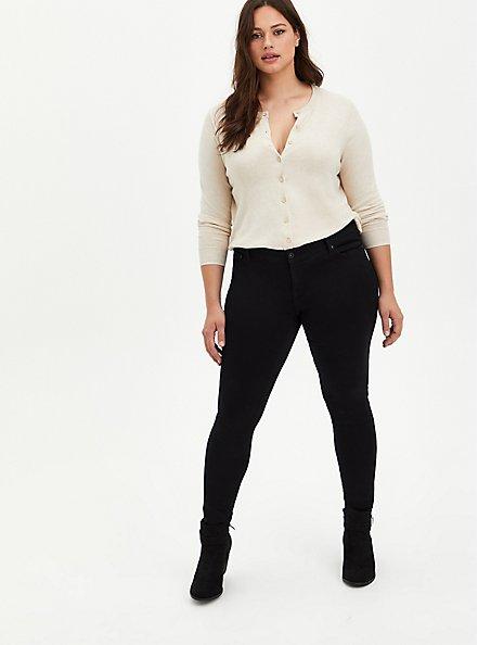 Button Front Short Cardigan Sweater - White, BRIGHT WHITE, alternate