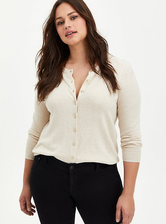Button Front Short Cardigan Sweater - White, , hi-res