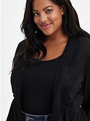 Babydoll Lace Cardigan Sweater - Black, DEEP BLACK, alternate