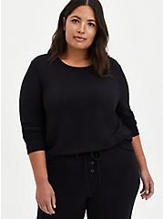 Black Micro Modal Sleep Sweatshirt, DEEP BLACK, hi-res