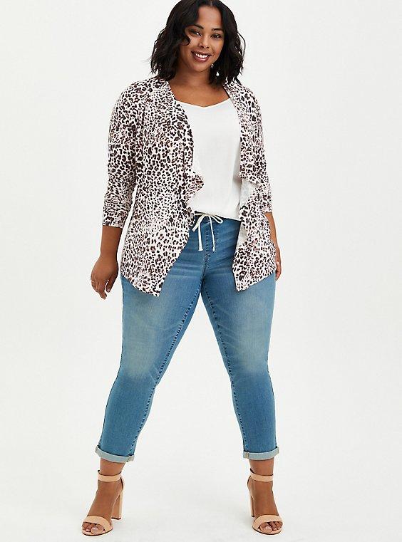 Super Soft Leopard Drape Cardigan Sweater, , hi-res