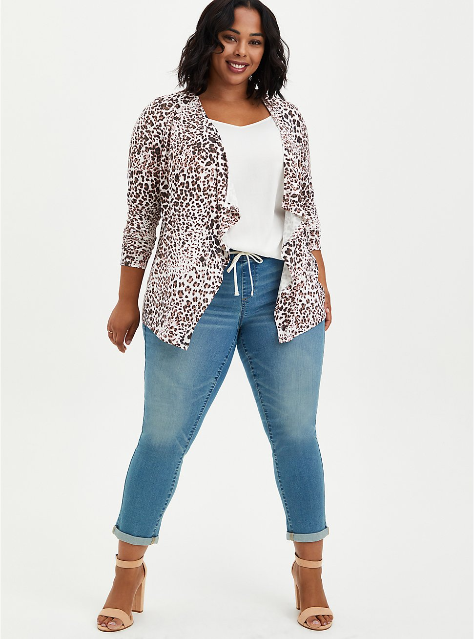 Super Soft Leopard Drape Cardigan Sweater, IKAT - COLORED, hi-res