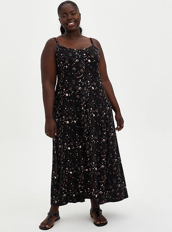 Trapeze Maxi Dress - Soft-Stretch Challis Star Black, , hi-res