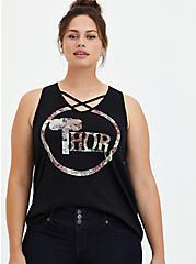 Marvel Thor Floral Strappy Tank, DEEP BLACK, hi-res