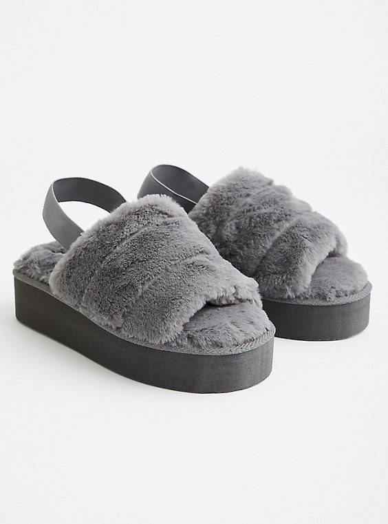 Platform Slipper - EVA & Faux Fur Grey, GREY, hi-res