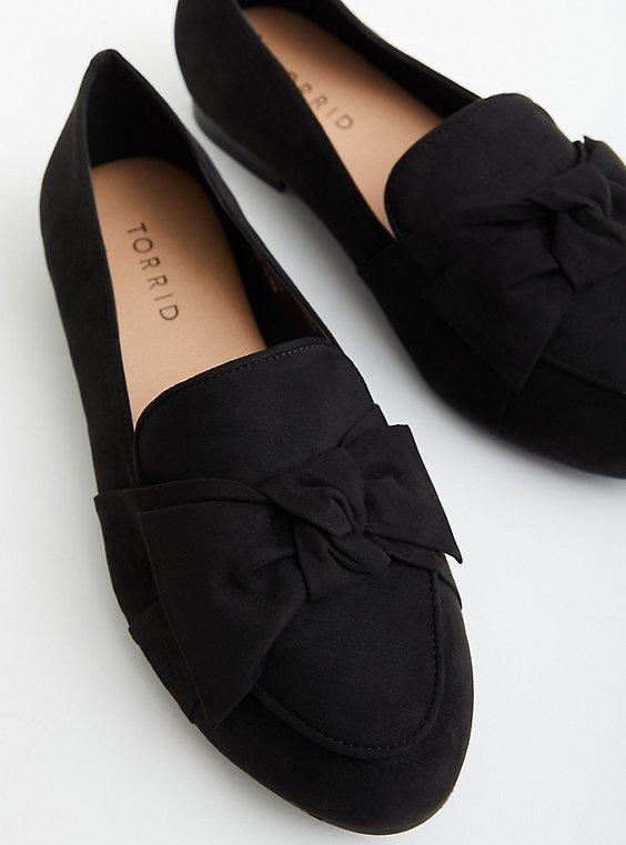 Black Faux Suede Loafer, BLACK, hi-res