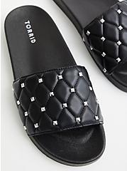 Studded Slide Sandal - Quilted Faux Leather Black (WW), BLACK, hi-res