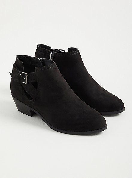 Black Faux Suede Cutout Ankle Bootie (WW), BLACK, alternate