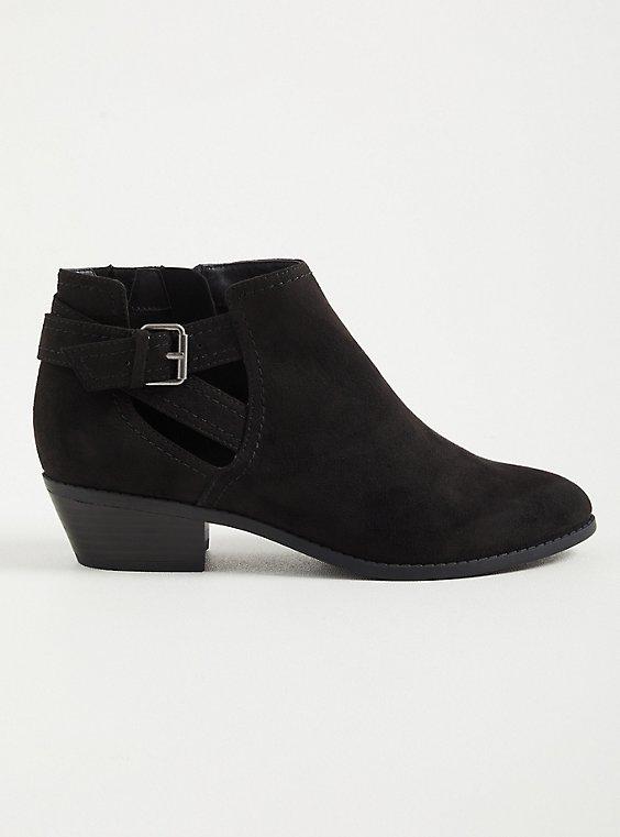 Black Faux Suede Cutout Ankle Bootie (WW), BLACK, hi-res