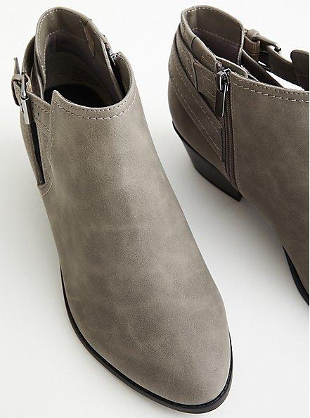 Grey Faux Leather Cutout Ankle Bootie (WW), GREY, alternate