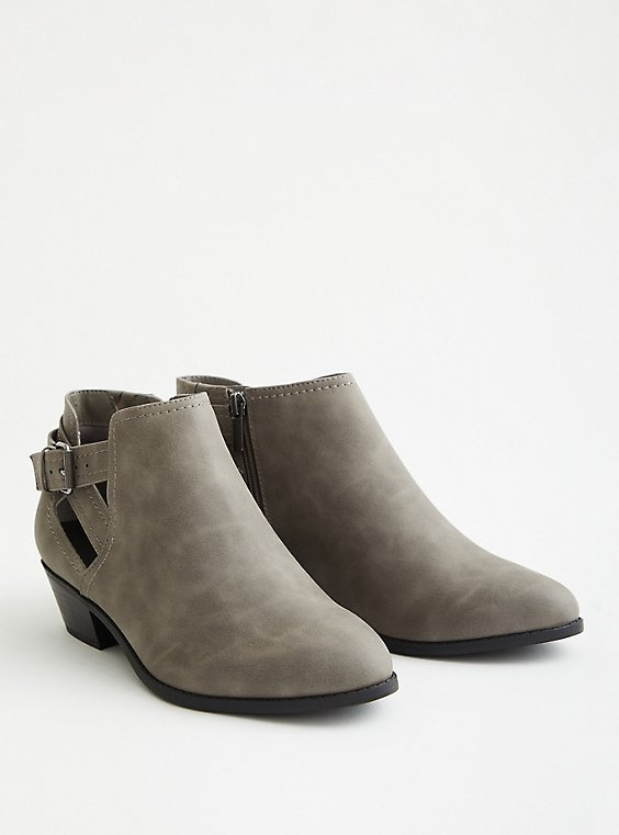 Grey Faux Leather Cutout Ankle Bootie (WW), GREY, hi-res