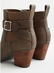 Brown Faux Leather Buckle Heel Bootie (WW), BROWN, alternate