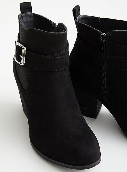 Black Faux Leather Buckle Heel Bootie (WW), BLACK, alternate