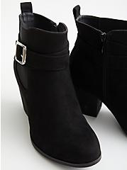 Plus Size Black Faux Leather Buckle Heel Bootie (WW), BLACK, alternate