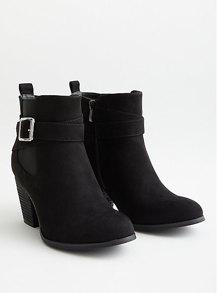 Black Faux Leather Buckle Heel Bootie (WW), BLACK, hi-res