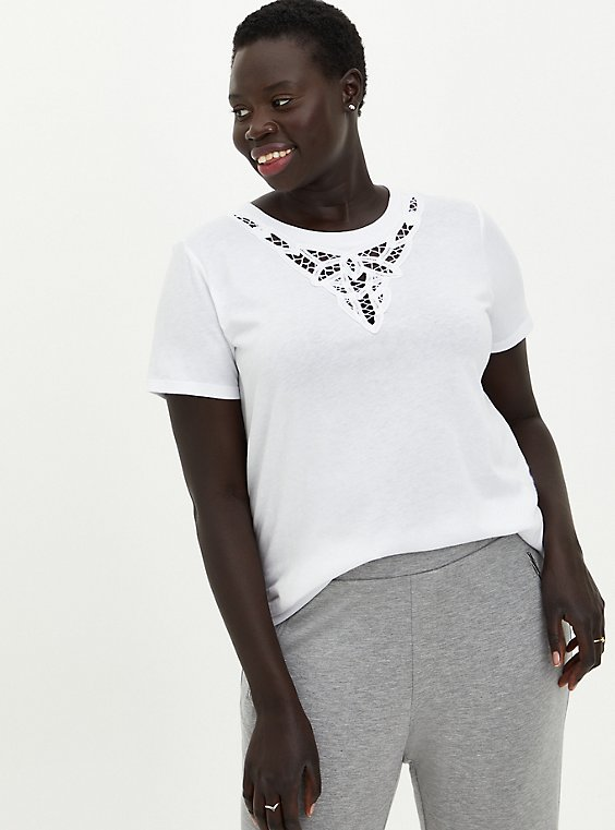 White Embroidered Tee , BRIGHT WHITE, hi-res