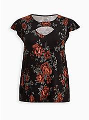 Super Soft Black Floral Flutter Sleeve Top, OTHER PRINTS, hi-res