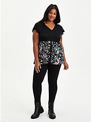 Babydoll Top - Super Soft Floral Lace Black, OTHER PRINTS, alternate