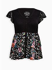 Babydoll Top - Super Soft Floral Lace Black, OTHER PRINTS, hi-res