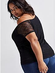 Off-Shoulder Tee - Lace Black, DEEP BLACK, alternate
