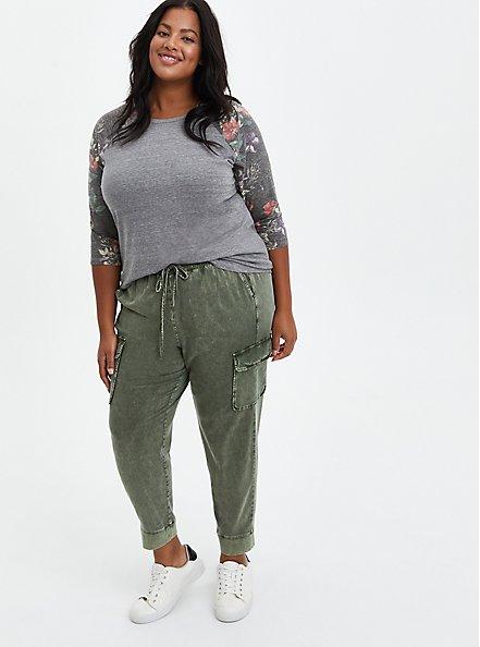 Classic Fit Raglan Tee - Heather Grey Floral 3/4 Sleeve, OTHER PRINTS, alternate