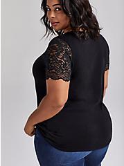 Lace Sleeve Tee - Cotton-Blend Black, DEEP BLACK, alternate