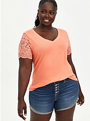 Lace Sleeve Tee - Cotton-Blend Coral, CORAL, hi-res