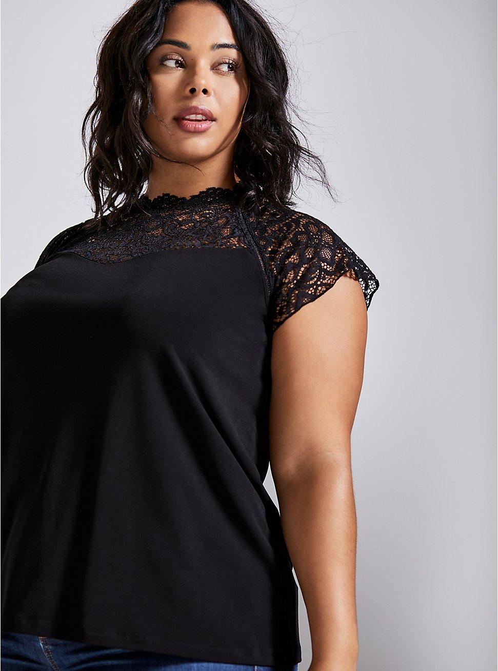 High-Neck Top - Lace Black, DEEP BLACK, hi-res