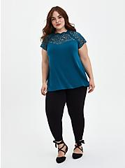 Plus Size Teal Lace High-Neck Top, TEAL, alternate