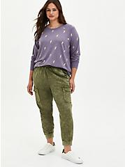 Plus Size Raglan Sweatshirt - Lightning Bolts Purple, OTHER PRINTS, alternate