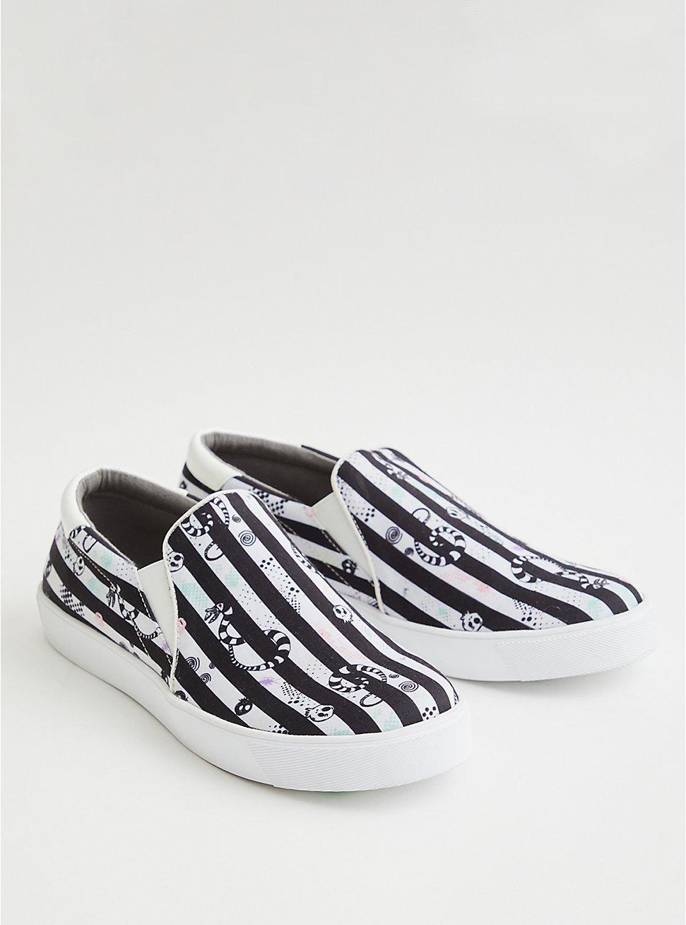 Beetlejuice Slip-On Sneaker - Canvas Striped (WW), BLACK, hi-res