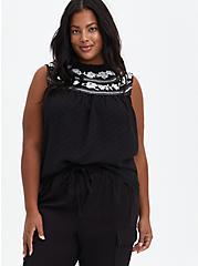 Clip Dot Embroidered Tank - Chiffon Black, DEEP BLACK, hi-res