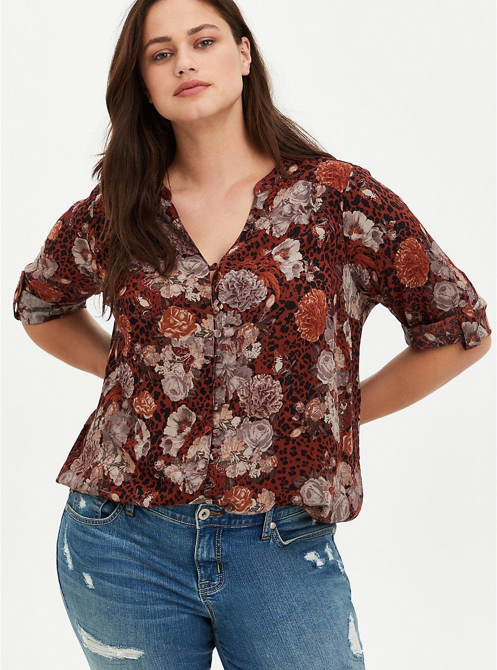 Harper - Challis Pullover Floral Brown, FLORAL - BROWN, hi-res