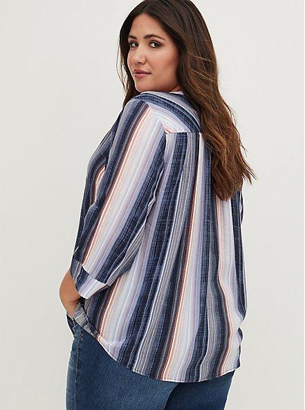 Harper - Purple Stripe Challis Pullover Blouse, STRIPE - BLUE, alternate