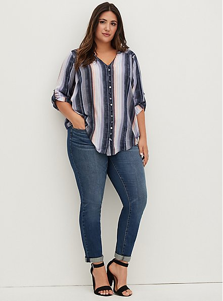 Harper - Purple Stripe Challis Pullover Blouse, STRIPE - BLUE, hi-res