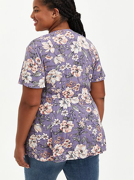 Plus Size Lace-Up Babydoll - Crinkle Gauze Floral Purple, FLORAL - PURPLE, alternate