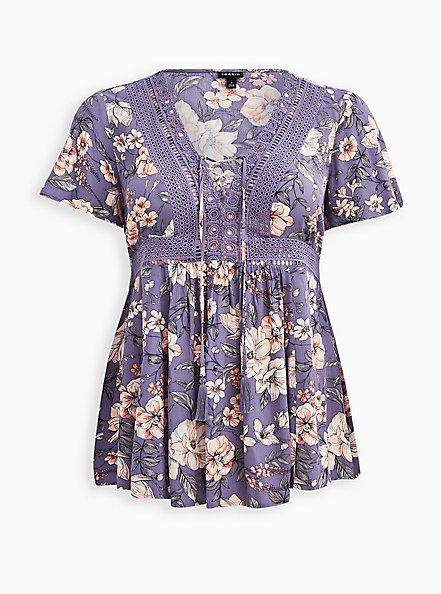 Plus Size Lace-Up Babydoll - Crinkle Gauze Floral Purple, FLORAL - PURPLE, hi-res