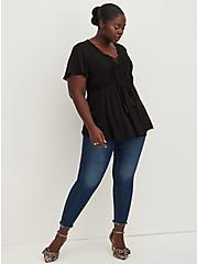 Lace-Up Babydoll - Crinkle Gauze Black, DEEP BLACK, alternate