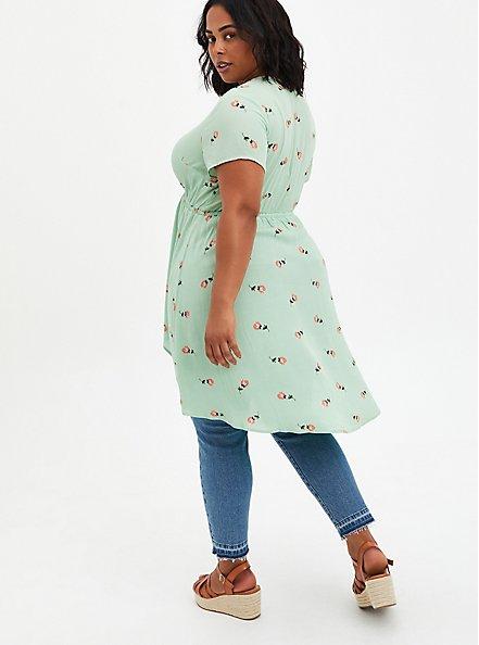Surplice Babydoll Tunic - Crinkle Gauze Floral Green, FLORAL - GREEN, alternate