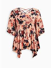 Babydoll Tunic - Stretch Challis Floral Peach, FLORAL - PINK, hi-res