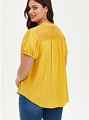 Lace Inset Blouse - Textured Stretch Rayon Yellow, MINERAL YELLOW, alternate