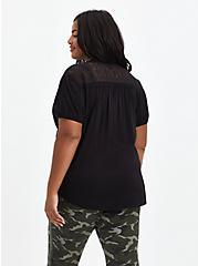 Lace Inset Blouse - Textured Stretch Rayon Black, DEEP BLACK, alternate